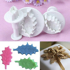 3X Holly leaf Cookie Plunger Cutter Fondant Sugarcraft Mold Cake Decorate Mould