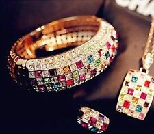 Luxury Women NEW H UAC Colourful Rhinestone Crystal Finger Dazzling Ring Jewelry