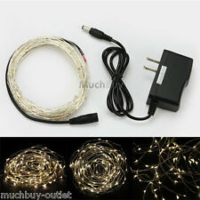 Warm White 10M 100 LED Copper Wire LED String Fairy Lights 12V + AC Adapter NEW