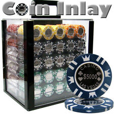 NEW 1000 Coin Inlay 15 Gram Clay Poker Chips Acrylic Carrier Case Set Pick Chips