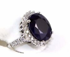 Fine Oval Cut Blue Sapphire Cocktail Ring w/Diamond Halo 14k White Gold 13.36Ct