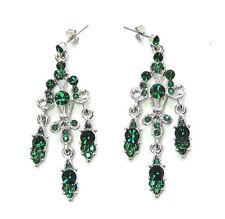 Earrings Pierced Dangling Flower Emerald Color Green Crystal