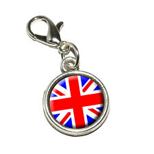 Britain British Flag - Union Jack - Antiqued Bracelet Charm with Lobster Clasp