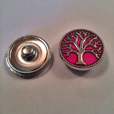 Snap Chunk Button Interchangeable Noosa Style - Pink Tree