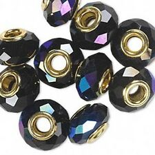 Big European Faceted Glass Round Rondelle Bead W/ Large 4.5mm Gold Grommet Hole