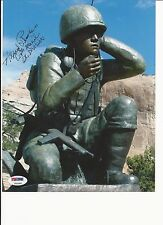 ALFRED PEACHES HAND SIGNED WWII CODE TALKER STATUE 8X10 W PSA COA T53280