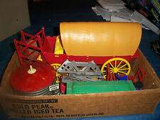 Box Lot of VINTAGE TOYS & PARTS Railroad COVERED WAGON  ETC