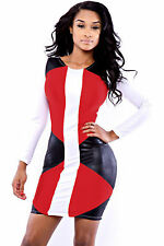 Mini Abito cono ecopelle Womens Mini Faux Leather Speedway Bodycon dress