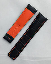 Black alligator-style watch band with orange stitching to fit TAG Heuer Monaco