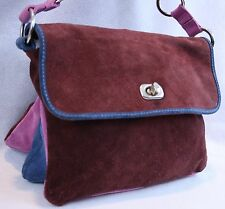 Claudia Firenze Cranberry Red Suede Leather Small Expandable Handbag EUC
