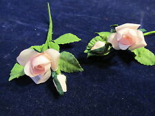 "Millinery Flower Pink 1"" Rose + 3/8"" Bud Lot of 2 for Hat Wedding or Hair Y165b"
