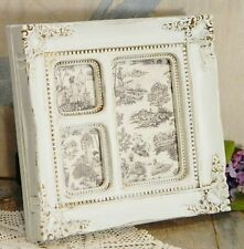 Picture/Multi-Photo Frame/White/Gold/Ornate/Glass/Easel Back/Shabby Cottage Chic