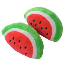 13CM Lovely Dog Puppy Pet Watermelon Squeaky Sound Plush Toys Chew Play Toys