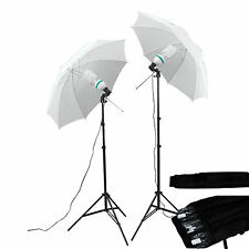 2 x 135W Bulb Photo Studio Lamp Umbrella Light Stand Continuous Lighting Kit