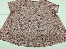 LADIES SIZE 26/28 PINK SHORT SLEEVE ROUND NECK FLORAL PATTERNED TOP 2G