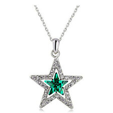 Elegant Silver & Dark Crystal Green Star Shaped Crystal Pendant Necklace N477