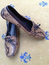 Gucci Women's Shoes Brown Leather Snakeskin Loafers Drivers UK 4.5 US 7 EU 37