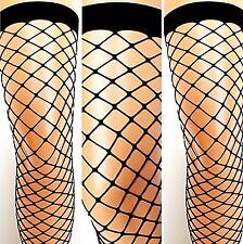 Nylon Netz-Strümpfe halterlos Strapse schwarz große Masche Kostüm Stockings S-L
