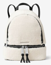 NWT Authentic Michael Kors Shearling & Leather Small Rhea Backpack Bag ~Natural