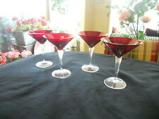 Bohemia Czech Crystal Ruby Martini Clear Stem Glasses Set of 4