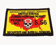 Zombie Hunting Permit IRON ON 3 INCH PATCH
