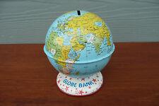 J. CHEIN & CO. Vintage Tin Litho WORLD GLOBE Coin Bank ~ Star Base  ~ USA