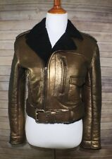 NWOT  RALPH LAUREN COLLECTION METALLIC LEATHER SHEARLING MOTORCYCLE JACKET 8