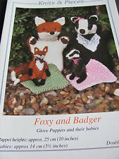 Knitting pattern for Fox and Badger glove puppets with babies in double knit.