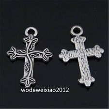 20pc Tibetan Silver CROSS Charm Bead Pendant Jewellery Findings Accessorie JP910
