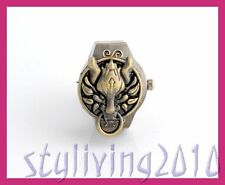 Bronze Cartoon Engraving Final Dragon Fantasy Men Women Finger Ring Quartz Watch