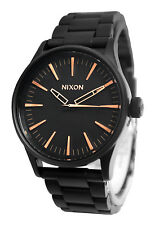 Nixon A450957 Sentry 38 SS All Black Rose Gold Dial Steel Bracelet Watch New