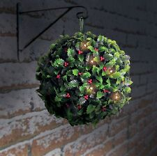 2 x 28cm Solar Holly Berry Topiary Ball With 20 Led Lights Christmas Decoration