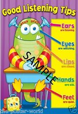 Good Listening Tips Display Kids Educational Learning Poster Print New
