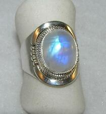 Rainbow Moonstone Oval Balinese Wrap Ring Sterling Silver Size 6