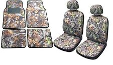 Camo Seat Cover Front Pair Floor Mats Camouflage Gray Forest Fits Dodge RAM