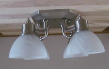 4 Arm Nickel 12 VOLT RV Trailer White Alabaster Ceiling Dinette Light Lamp Nice!
