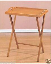 Oak Folding Wood TV Tray  Dinner Table Stand Serving Snack Tea Portable