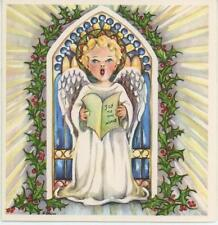 VINTAGE 1950'S BLONDE ANGEL CHILD SINGS JOY TO THE WORLD HOLLY BERRY CARD PRINT