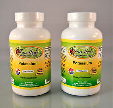Potassium, blood pressure, heart, bone health- 200 tablets (2x100). Made in USA.