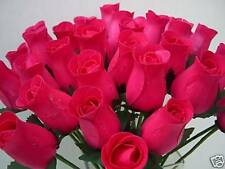 MOTHER DAY 100 WHOLESALE CERISE FUCHSIA HOT PINK WOODEN ROSES ARTIFICIAL FLOWERS