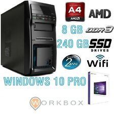PC Desktop AMD A4 QUAD CORE ALANTIK WIFI SSD 240GB 8GB RAM HDMI USB WINDOWS 10