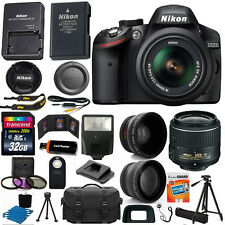 Nikon D3200 Digital SLR Camera 3 Lens Kit: 18-55mm VR II +32GB Best Value Bundle