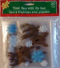 New CHRISTMAS CELLO PARTY GIFT BAGS 30 Count TREAT BAGS with Zip Seal ~ Reindeer