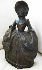 Antique Heavy Bronze / Brass Victorian Dress Purse Bonnet Belle Door Stop 7""