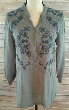 JOHNNY WAS Boho Embroidered Pintuck Peasant Blouse Tunic Top Sheer Shirt Size XS