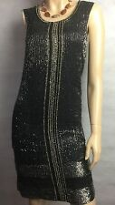 ALL SAINTS ~ STUNNING BLACK & BEADED FLAPPER VINTAGE STYLE DRESS. SZ 8