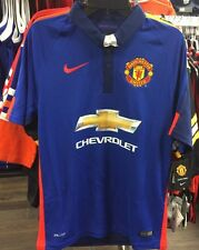 Team Manchester United Soccer Blue Jersey Short Sleeves Premier League Medium
