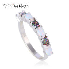 OR752#10 Fine Mystic Topaz Wholesale Retail White Fire Opal Silver Stamped Ring