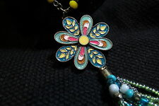 "Cool ""Betsyville"" by Betsy Johnson flower necklace, enamel/bead/chain,aqua,pinks"