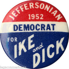 Scarce 1952 Eisenhower Nixon DEMOCRAT for IKE & DICK Campaign Button (5136)